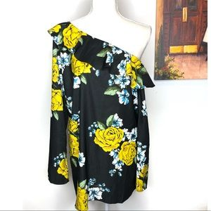Off the Shoulder Floral Ruffle Long Sleeve Blouse
